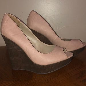 JustFab Mauve peep-toe Cork Wedge